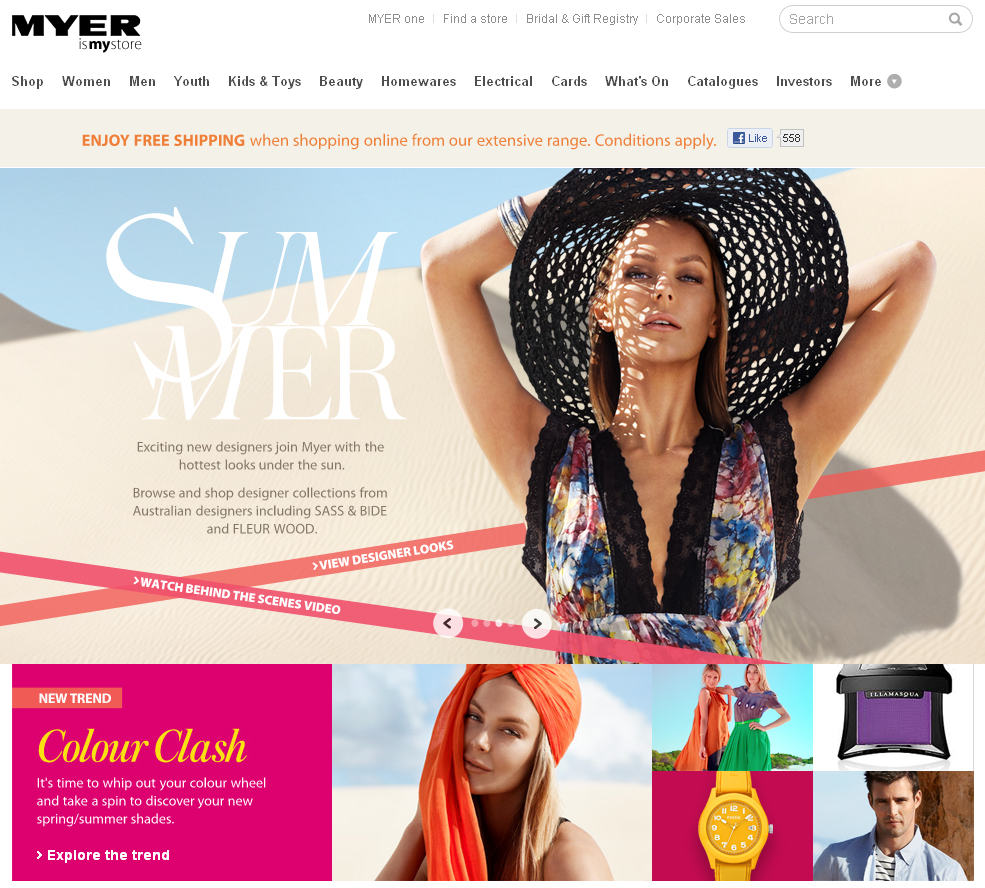 Myer offer free shipping